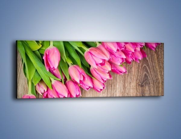 Obraz na płótnie – Do góry nogami z tulipanami – jednoczęściowy panoramiczny K807