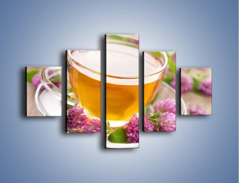 Obraz na płótnie – Herbata z kwiatami – pięcioczęściowy JN283W1