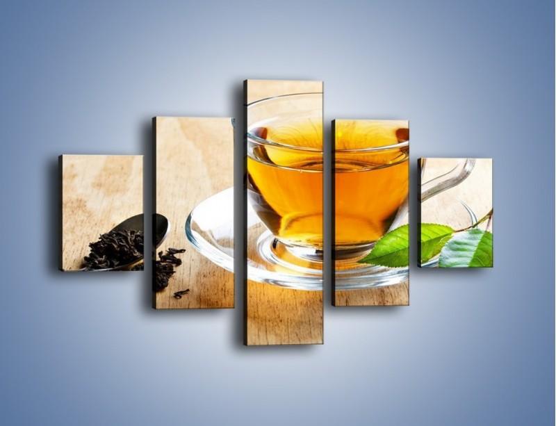 Obraz na płótnie – Listek mięty dla orzeźwienia herbaty – pięcioczęściowy JN290W1