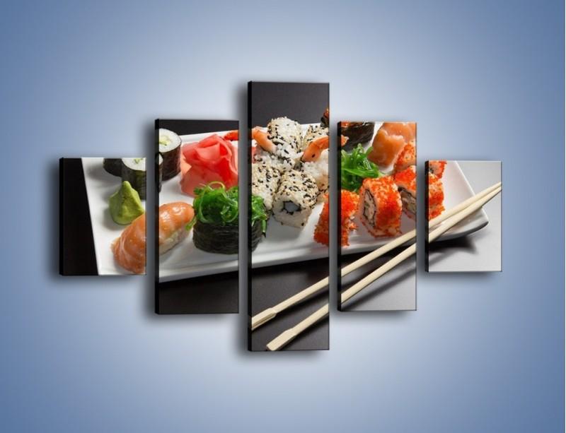 Obraz na płótnie – Kuchnia azjatycka na półmisku – pięcioczęściowy JN295W1