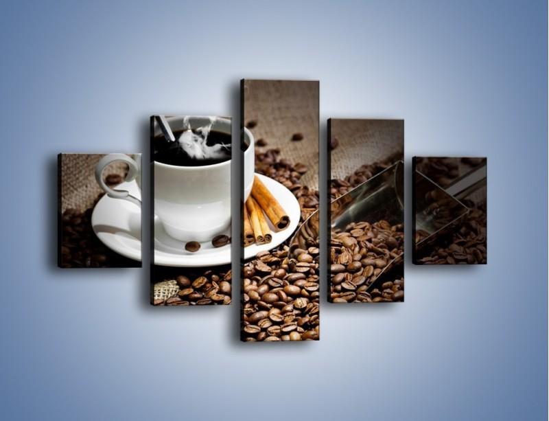 Obraz na płótnie – Czarna palona kawa – pięcioczęściowy JN311W1