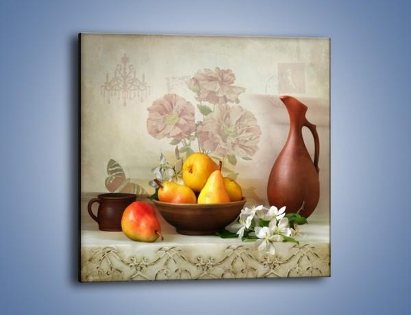 Obraz na płótnie – Gruszki wśród kwiatów – jednoczęściowy kwadratowy JN572