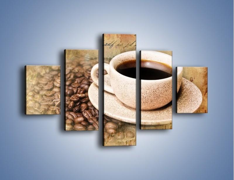Obraz na płótnie – List przy filiżance kawy – pięcioczęściowy JN347W1