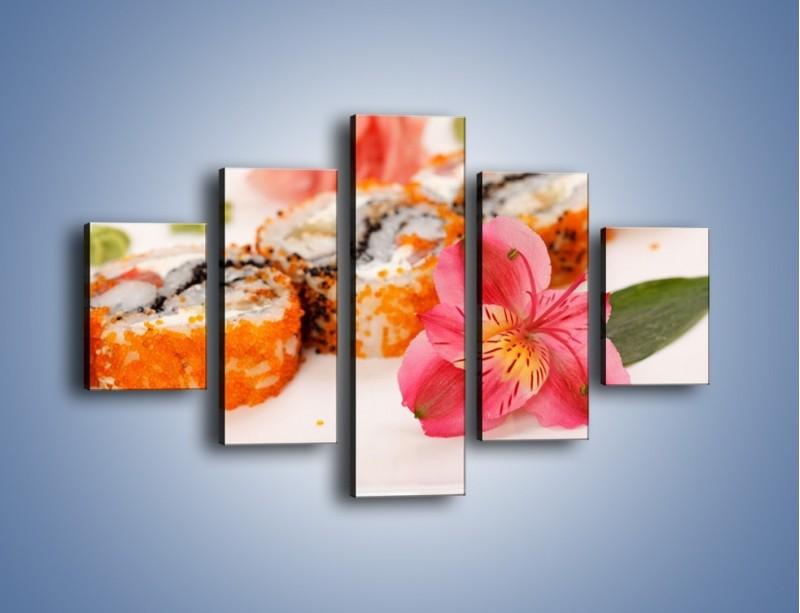 Obraz na płótnie – Sushi z kwiatem – pięcioczęściowy JN354W1