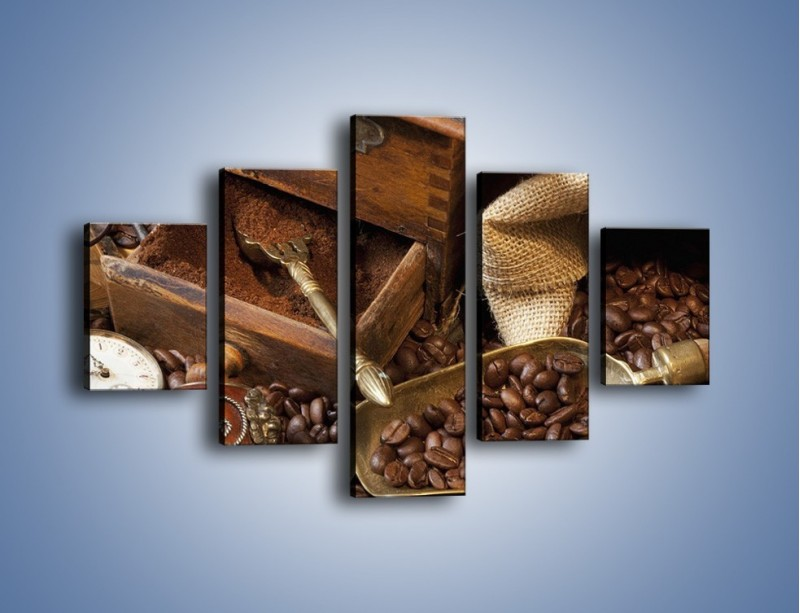 Obraz na płótnie – Szuflada pełna kawy – pięcioczęściowy JN356W1