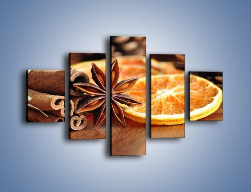 Obraz na płótnie – Pomarańcza z dodatkami – pięcioczęściowy JN357W1