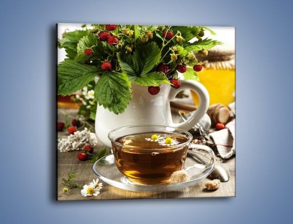 Obraz na płótnie – Herbata z poziomką – jednoczęściowy kwadratowy JN574