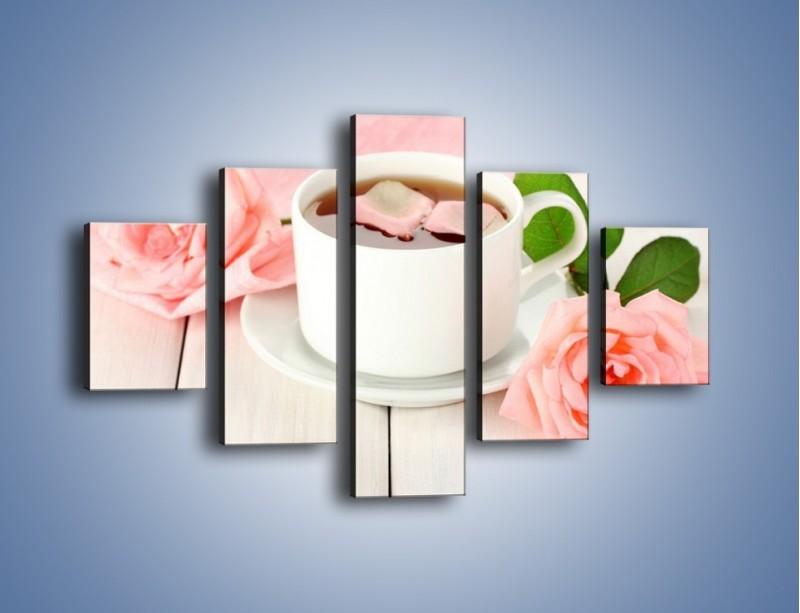 Obraz na płótnie – Herbata wśród róż – pięcioczęściowy JN369W1