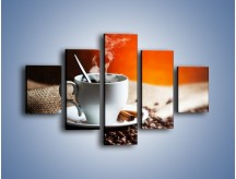 Obraz na płótnie – Aromatyczny zapach kawy – pięcioczęściowy JN374W1