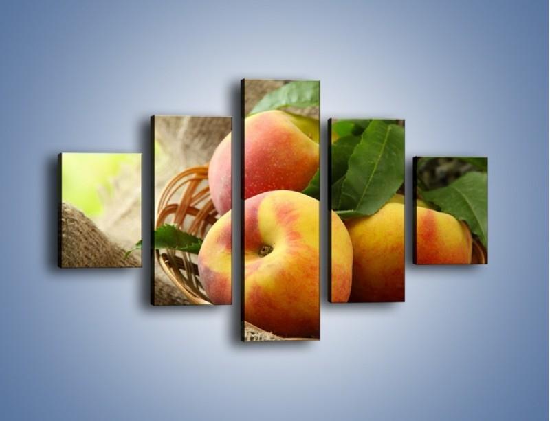 Obraz na płótnie – Dojrzałe jabłka w koszu – pięcioczęściowy JN390W1