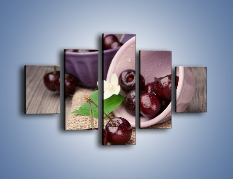 Obraz na płótnie – Wiśnie w małych pucharkach – pięcioczęściowy JN399W1