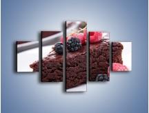 Obraz na płótnie – Czekoladowe brownie z owocami – pięcioczęściowy JN408W1