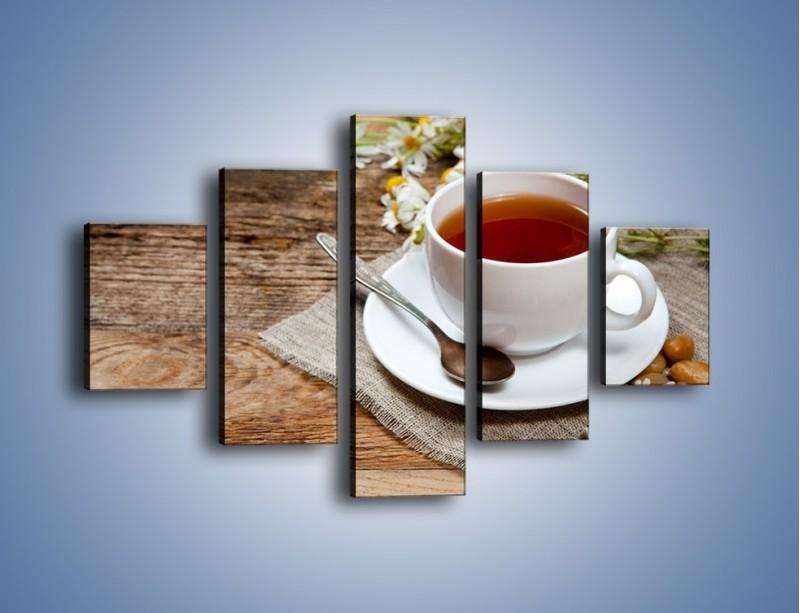 Obraz na płótnie – Herbata wśród stokrotek – pięcioczęściowy JN413W1