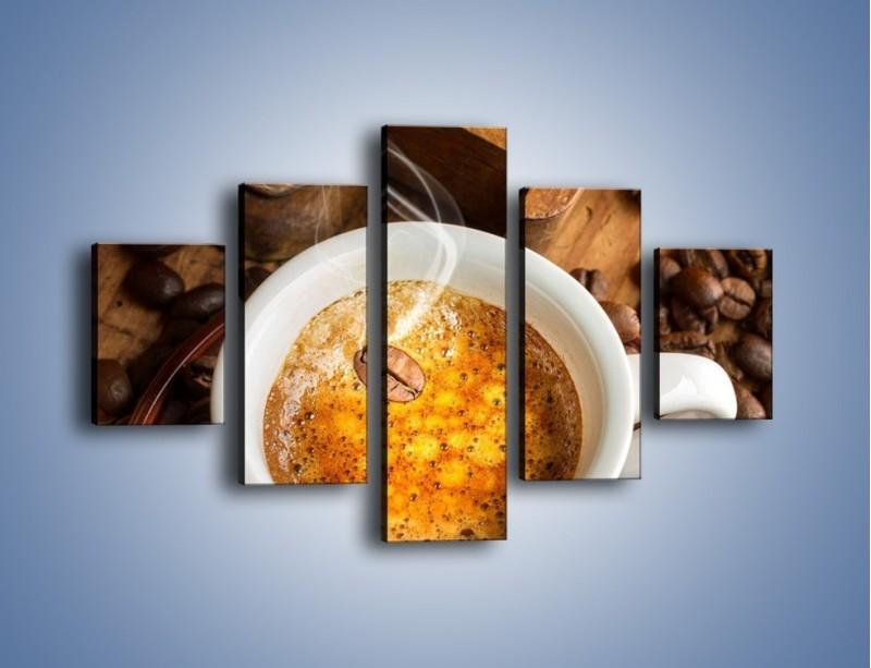 Obraz na płótnie – Ziarna zatopione w kawie – pięcioczęściowy JN416W1