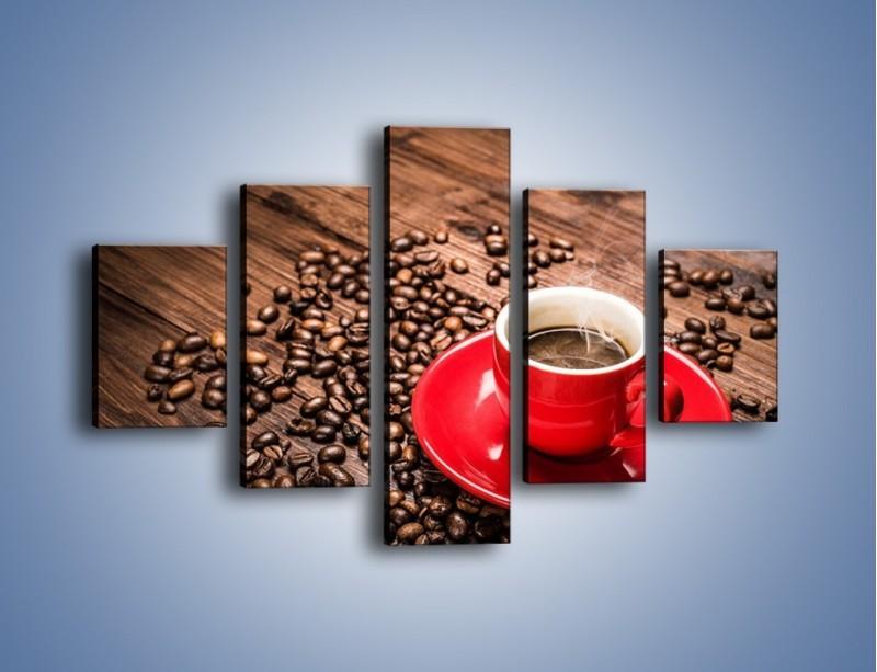 Obraz na płótnie – Kawa w czerwonej filiżance – pięcioczęściowy JN441W1