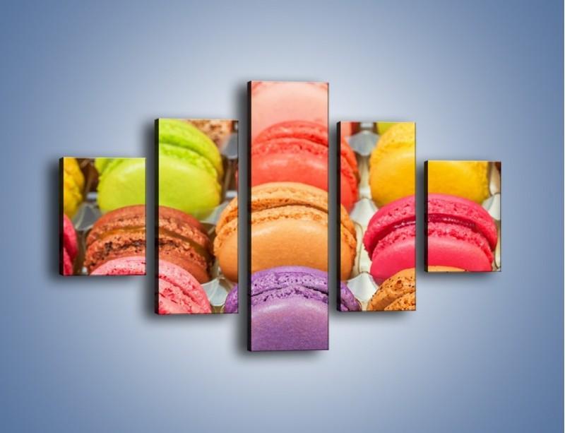 Obraz na płótnie – Słodkie babeczki w kolorach tęczy – pięcioczęściowy JN458W1