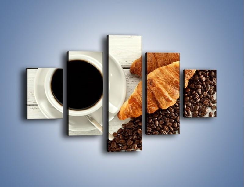 Obraz na płótnie – Kawa na białym stole – pięcioczęściowy JN462W1