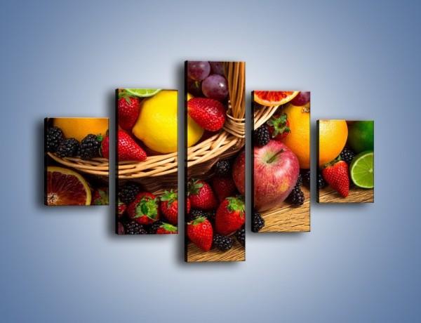 Obraz na płótnie – Kosz zatopiony w owocach – pięcioczęściowy JN635W1