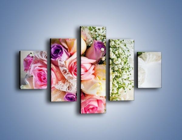 Obraz na płótnie – Wiązanka ślubna z róż – pięcioczęściowy K022W1
