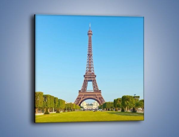 Obraz na płótnie – Wieża Eiffla pod błękitnym niebem – jednoczęściowy kwadratowy AM171