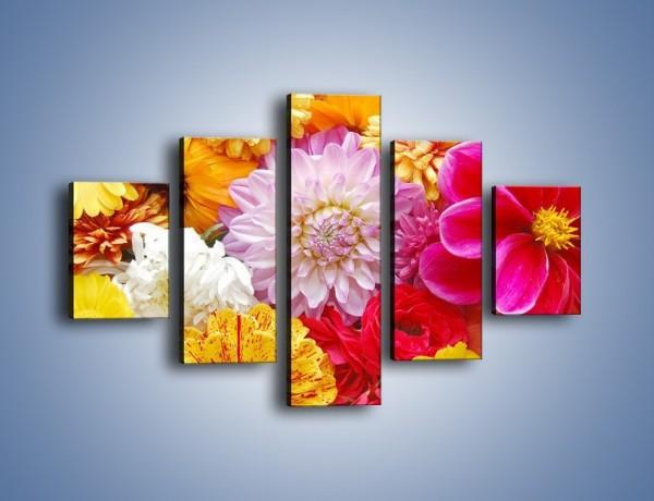 Obraz na płótnie – Letnie kwiaty z działki – pięcioczęściowy K198W1