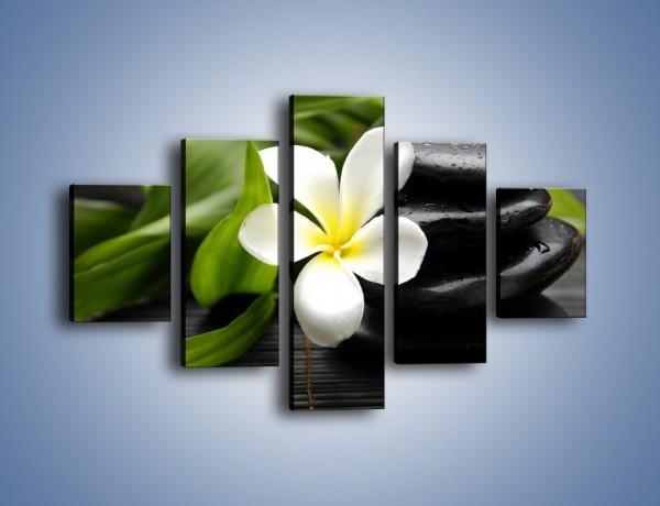 Obraz na płótnie – Kwiat na bambusowej macie – pięcioczęściowy K267W1