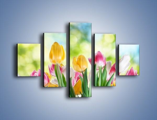 Obraz na płótnie – Tulipany pełne radości – pięcioczęściowy K278W1
