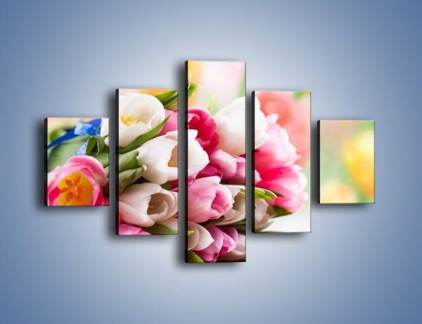 Obraz na płótnie – Tulipany w letniej odsłonie – pięcioczęściowy K404W1