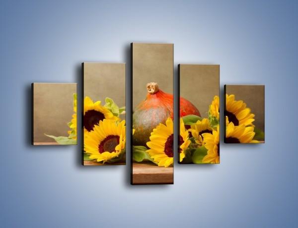 Obraz na płótnie – Słoneczniki w jesiennym klimacie – pięcioczęściowy K418W1