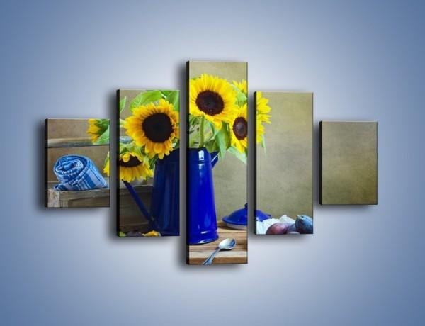 Obraz na płótnie – Słoneczniki w niebieskiej konewce – pięcioczęściowy K420W1