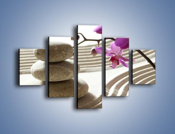 Obraz na płótnie – Kamień piasek i kwiat – pięcioczęściowy K435W1