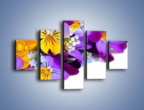 Obraz na płótnie – Ciepłe kolory w kwiatach – pięcioczęściowy K442W1