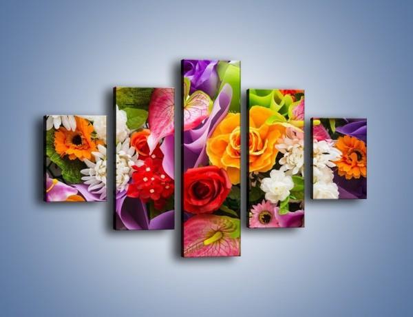 Obraz na płótnie – Kwiaty w kolorze tęczy – pięcioczęściowy K462W1