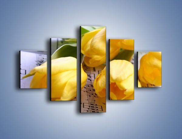 Obraz na płótnie – Tulipanowe nuty – pięcioczęściowy K486W1