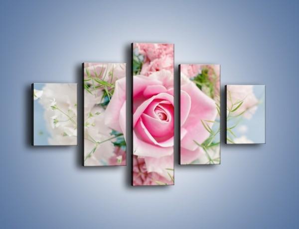 Obraz na płótnie – Róża z przesłaniem – pięcioczęściowy K493W1