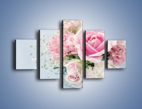 Obraz na płótnie – Kwiaty z ślubną historią – pięcioczęściowy K494W1