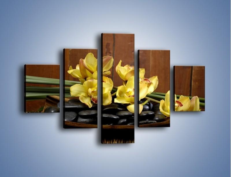 Obraz na płótnie – Kwiaty na drewnianym naczyniu – pięcioczęściowy K575W1