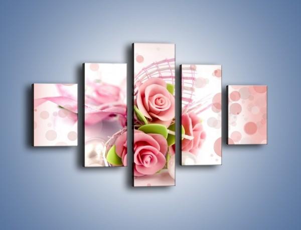Obraz na płótnie – Marcepanowe róże – pięcioczęściowy K591W1