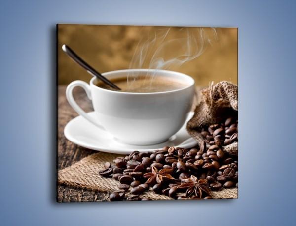 Obraz na płótnie – Filiżanka kawy z małą łyżeczką – jednoczęściowy kwadratowy JN598