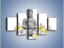 Obraz na płótnie – Budda w białych kwiatach – pięcioczęściowy K599W1