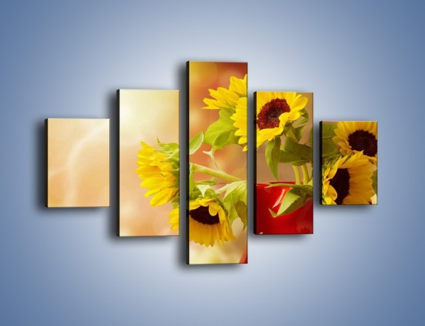 Obraz na płótnie – Słoneczniki w czerwonym dzbanku – pięcioczęściowy K613W1
