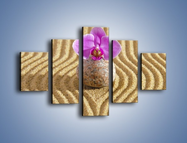 Obraz na płótnie – Struktura piasku z kwiatem – pięcioczęściowy K637W1