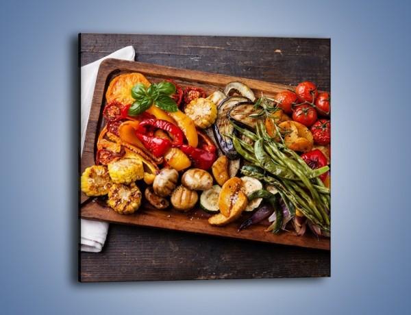 Obraz na płótnie – Taca z grilowanymi warzywami – jednoczęściowy kwadratowy JN600