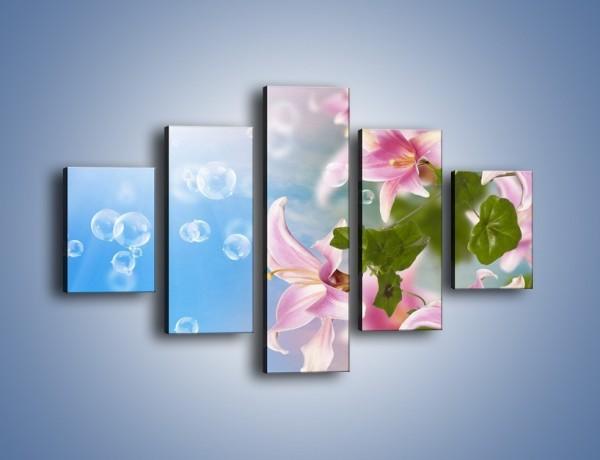 Obraz na płótnie – Mydlane bańki nad kwiatami – pięcioczęściowy K669W1