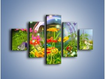 Obraz na płótnie – Bańkowy świat kwiatów – pięcioczęściowy K691W1