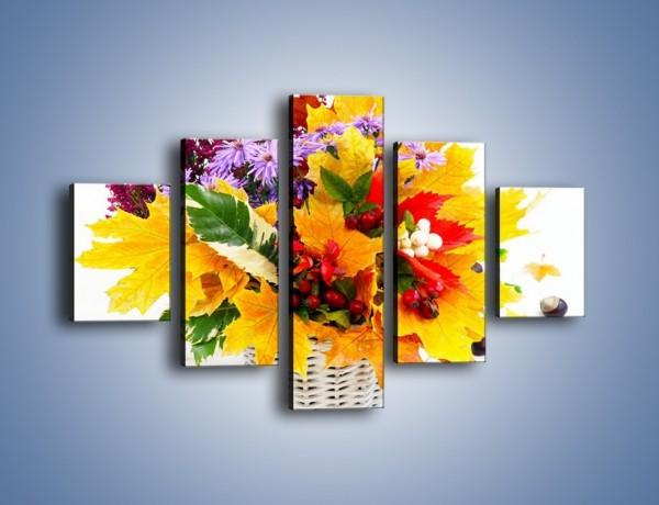 Obraz na płótnie – Kasztany i jesienna wiązanka – pięcioczęściowy K700W1