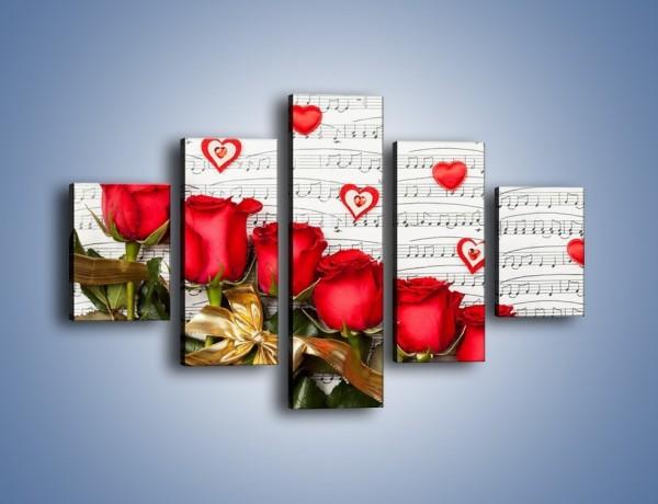 Obraz na płótnie – Miłosne melodie wśród róż – pięcioczęściowy K717W1