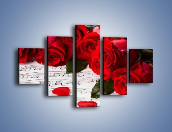 Obraz na płótnie – Różane płatkowe serce – pięcioczęściowy K718W1