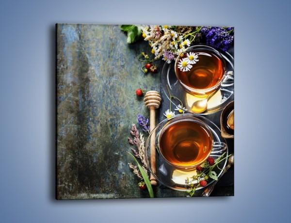 Obraz na płótnie – Herbatki ze słodkimi poziomkami – jednoczęściowy kwadratowy JN603