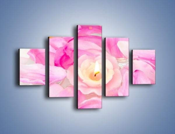 Obraz na płótnie – Pływająca różana świeczka – pięcioczęściowy K746W1